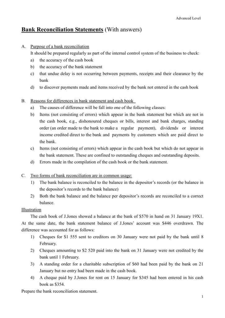 Bank reconciliation discrepancies