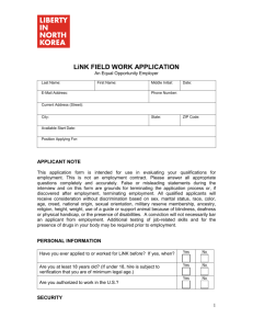 LiNK FIELD WORK APPLICATION An Equal Opportunity Employer