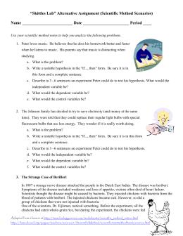 Scientific Method Scenario Worksheet by Health Science with Mrs McD