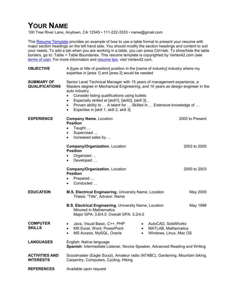 Resume Template Table Format