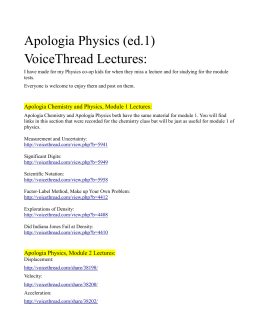 VoiceThread Index for Apologia Physics ed1
