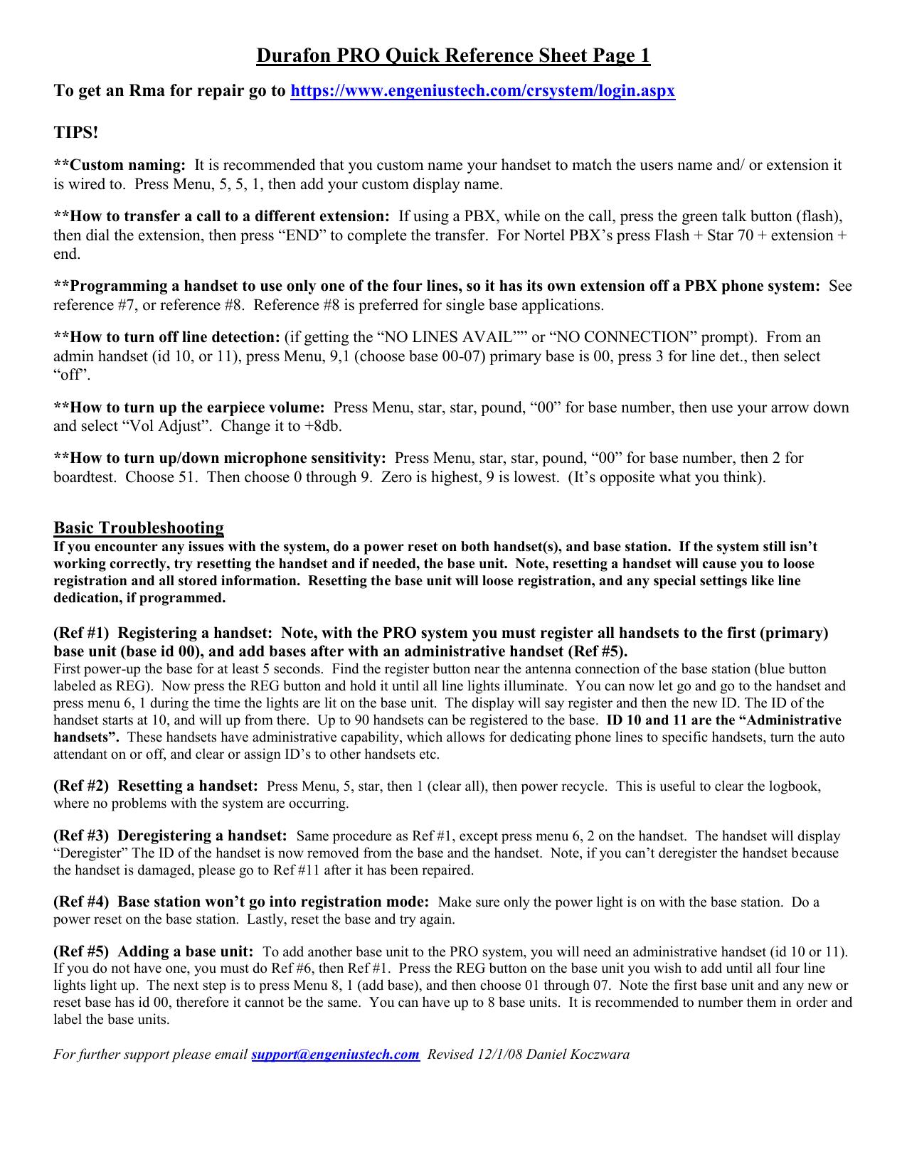 Durafon PRO Quick Reference Sheet Page 1