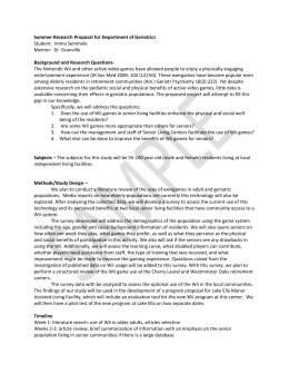 Summer Research Proposal for Department of Geriatrics Student