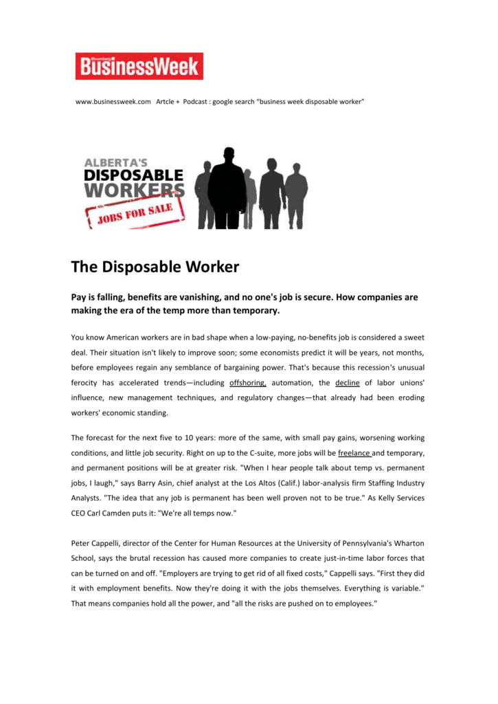 era of the disposable worker essay Free essay on causes of the great depression available totally free at echeatcom, the largest free essay community.