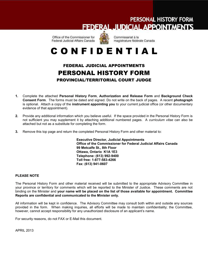 Personal History Form Doc Version 172 Kb