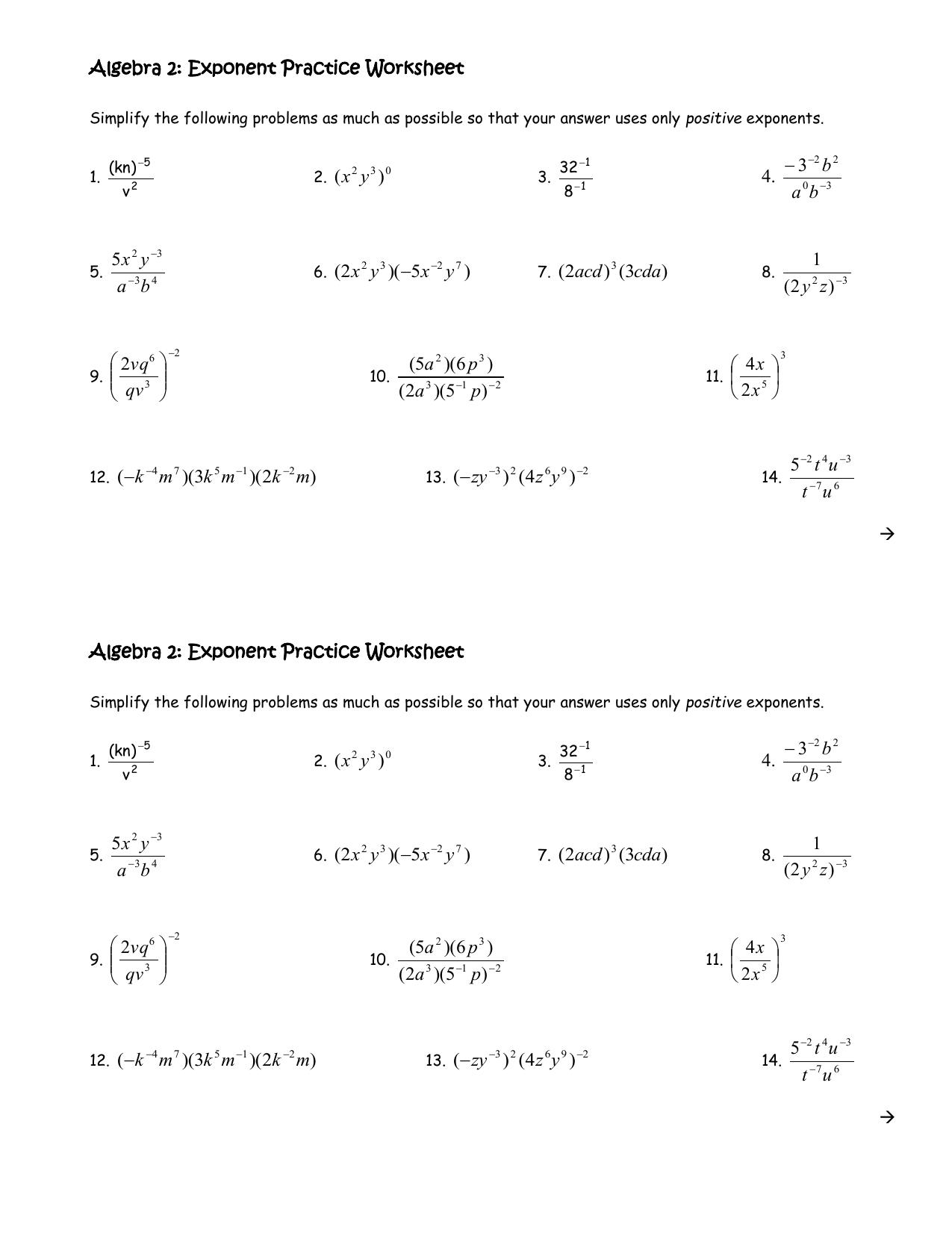 Algebra 2: Exponent Practice Worksheet