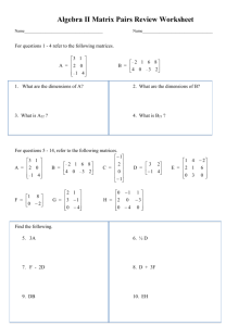 Honors Algebra II Matrix Review Worksheet