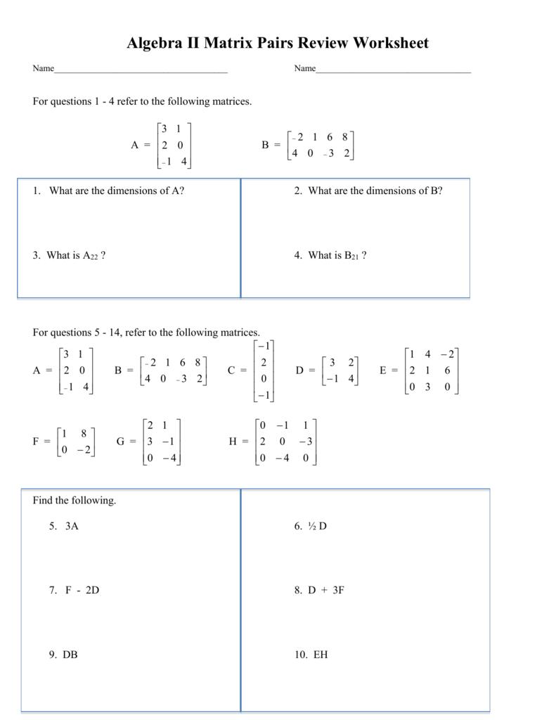 Honors Algebra Ii Matrix Review Worksheet
