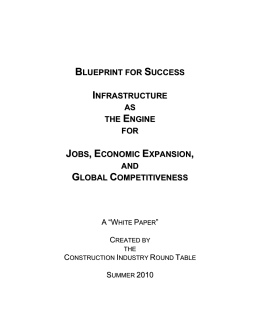 BLUEPRINT FOR SUCCESS: Infrastructure As The Engine For Jobs