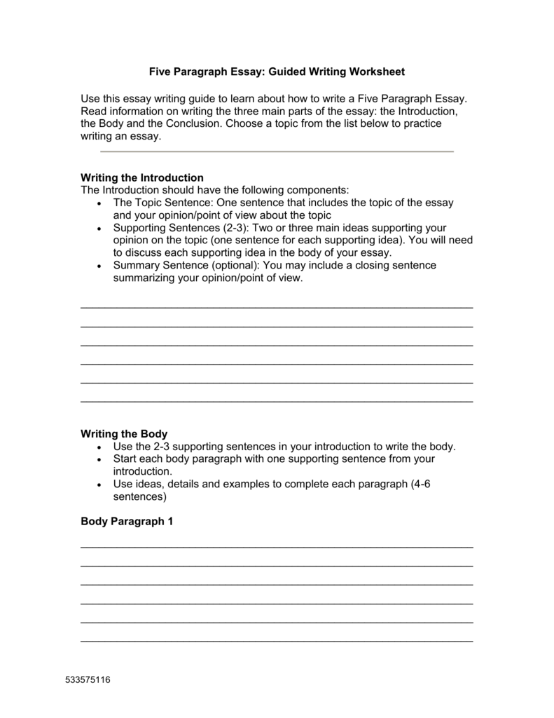 five paragraph essay guided writing worksheet. Black Bedroom Furniture Sets. Home Design Ideas