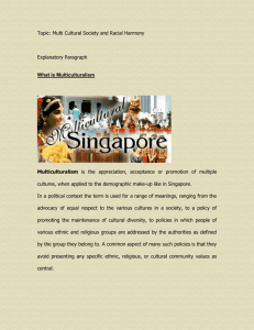Explanatory Paragraph for Multiculture Singapore - National