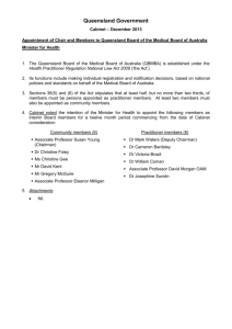 Queensland Government Cabinet – December 2013 Appointment of