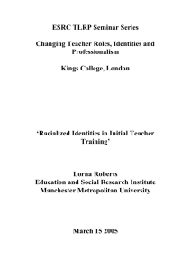 Racialized identities in Initial Teacher Training