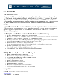 C&F Enterprises, Inc. Title : Marketing Coordinator Company : C & F