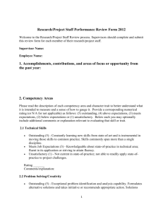 Research/Project Staff Performance Review Form 2012 Welcome to