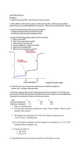 Acid - Base Titration Worksheet - Acid-Base Titration In the ...