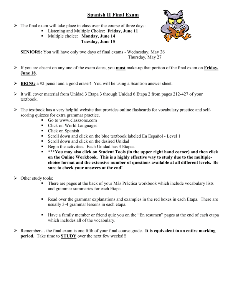 Workbooks avancemos 2 workbook answers online : Spanish III Final Exam