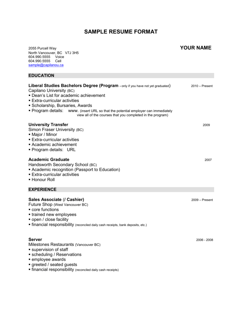 sample resume format - Capilano University