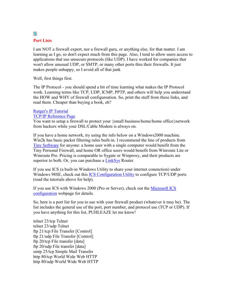Firewall port Lists