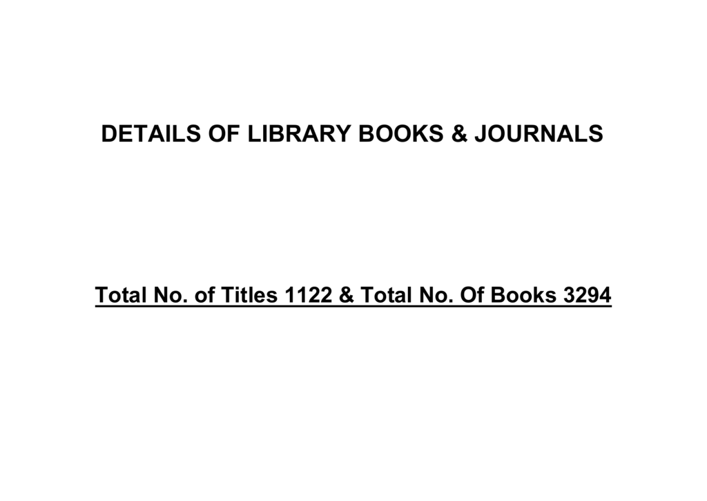 Details of the Books and journals