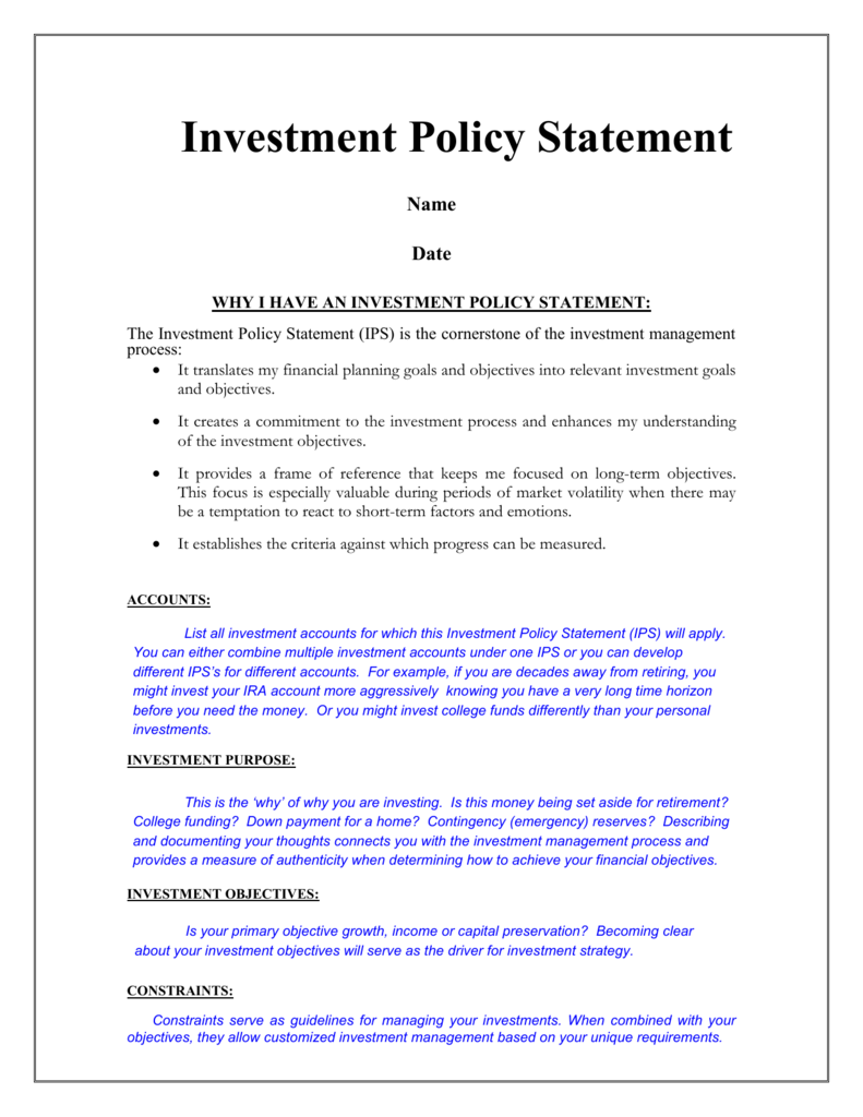 Investment policy statement for 401k plans investment property finders maryland