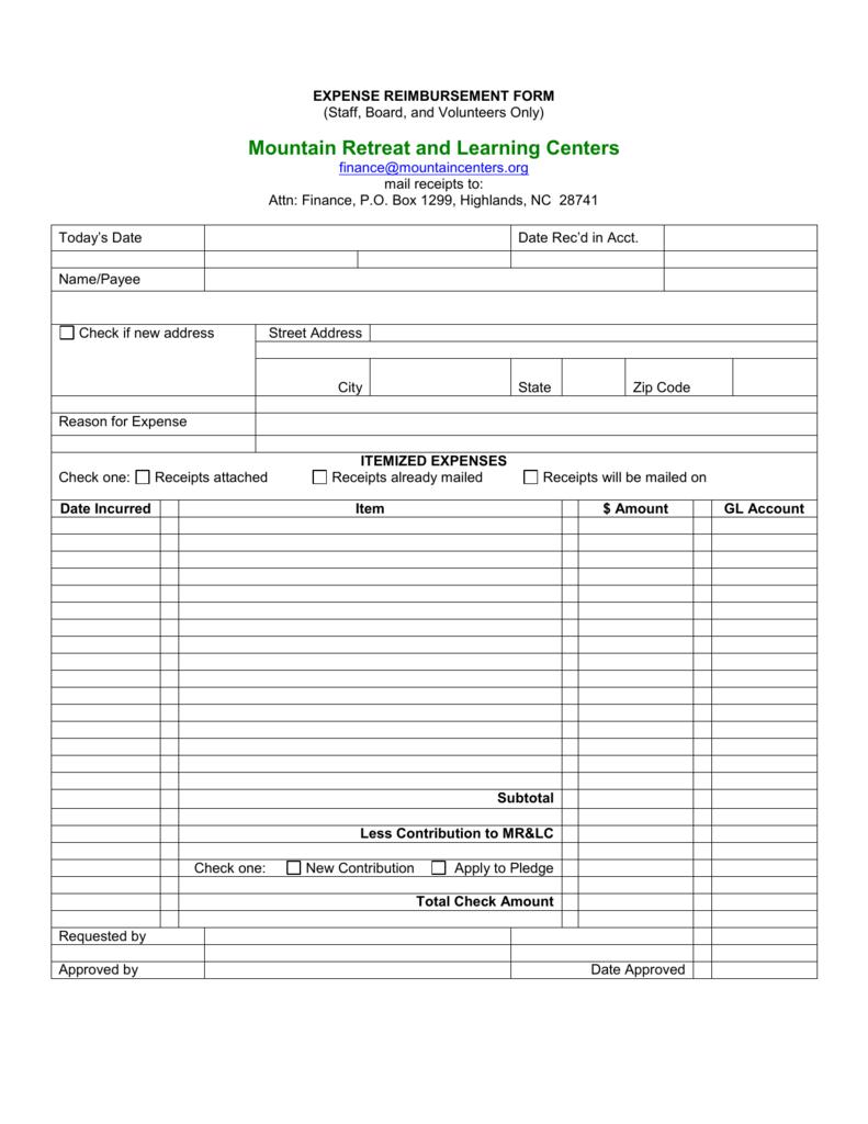 30 Sample Word Expense Reimbursement Form
