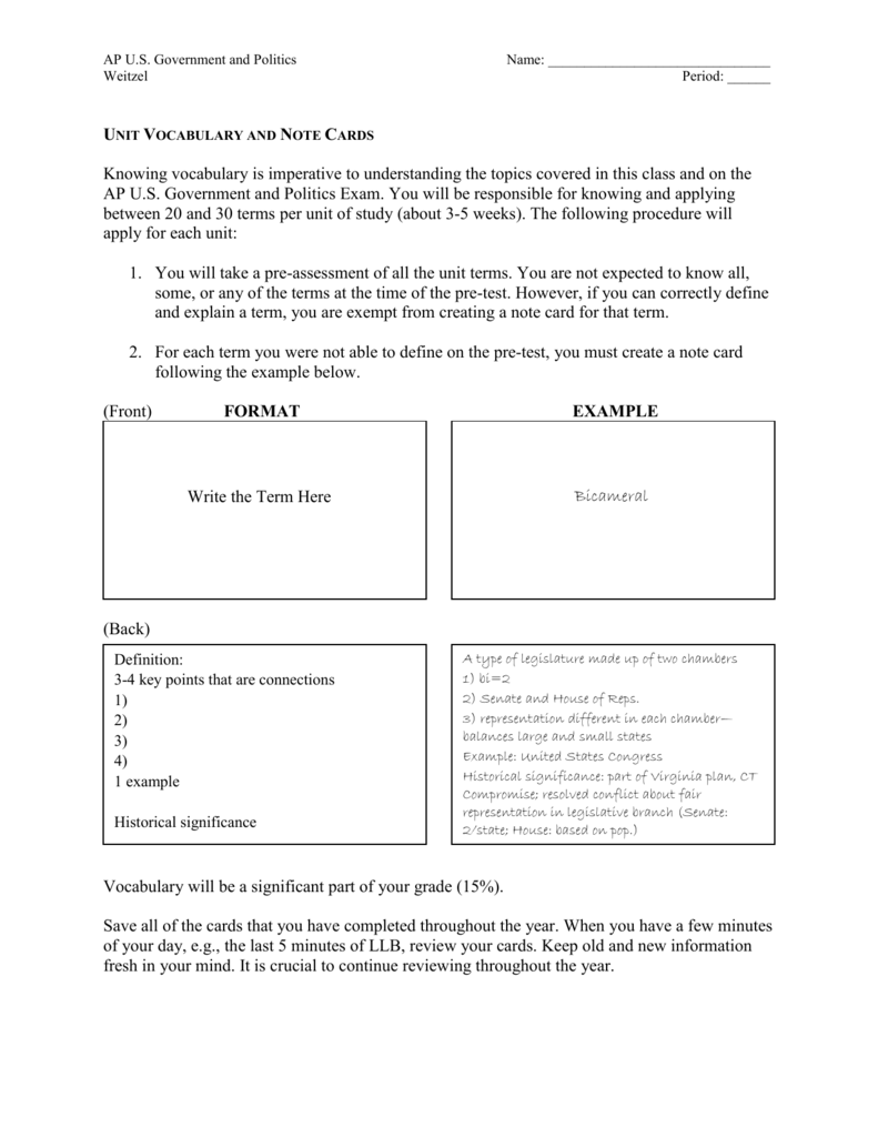 vocab note card instructions
