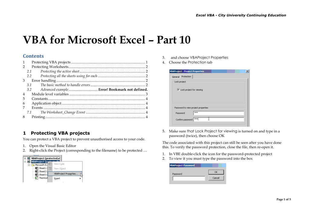 excel vba password protect all sheets