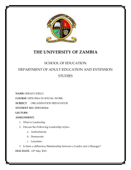 THE UNIVERSITY OF ZAMBIA SCHOOL OF EDUCATION