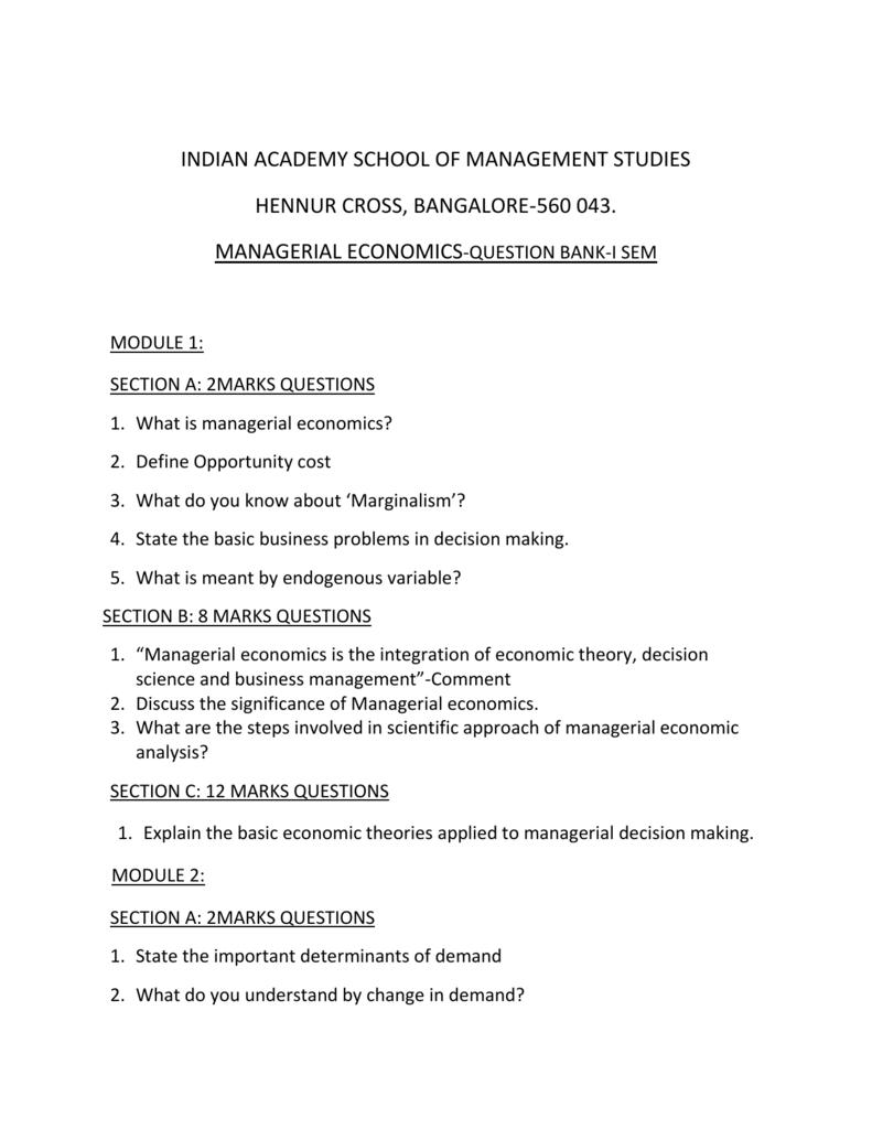 Managerial Economics 1