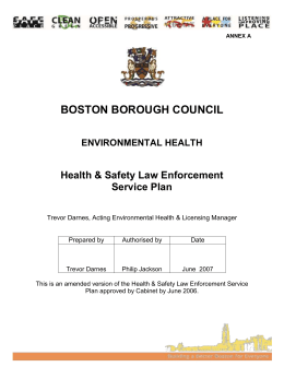 The Health and Safety Law Enforcement Service Plan