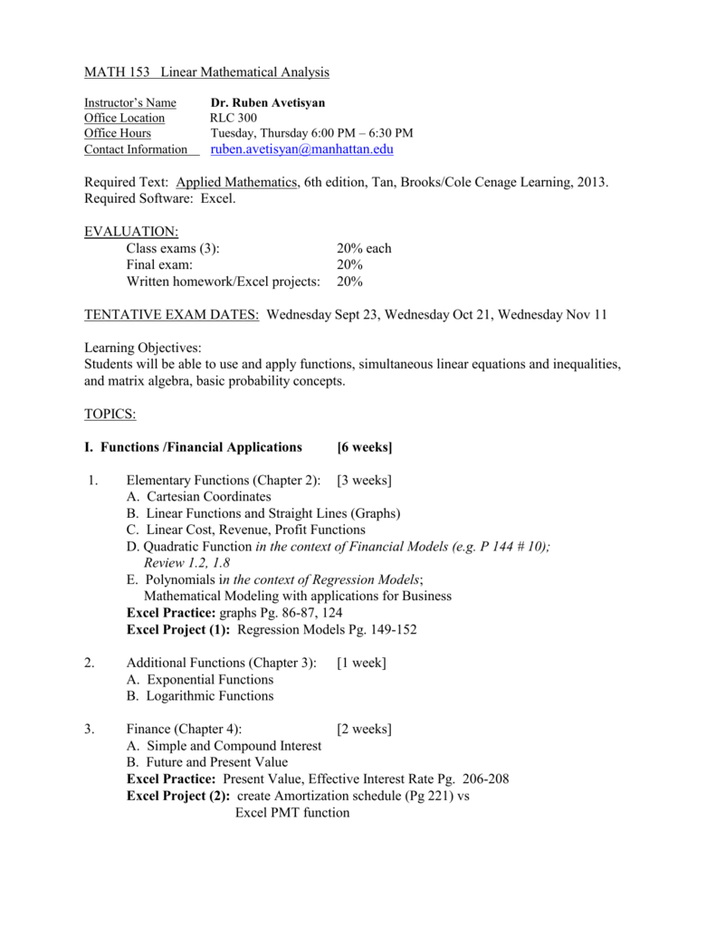 MATH 105 Linear Mathematical Analysis