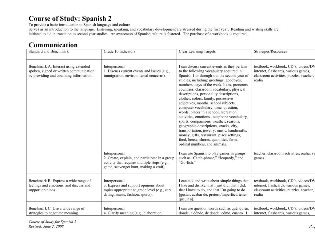 Workbooks spanish language workbooks : Lakewood City Schools Language Arts Course of Study – Draft