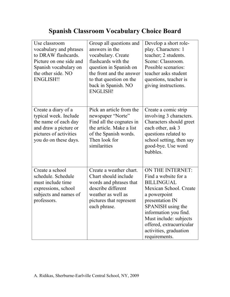 Spanish Classroom Vocabulary Choice Board