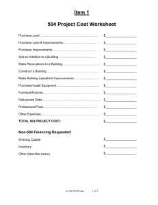 504 Project Costs – Worksheet