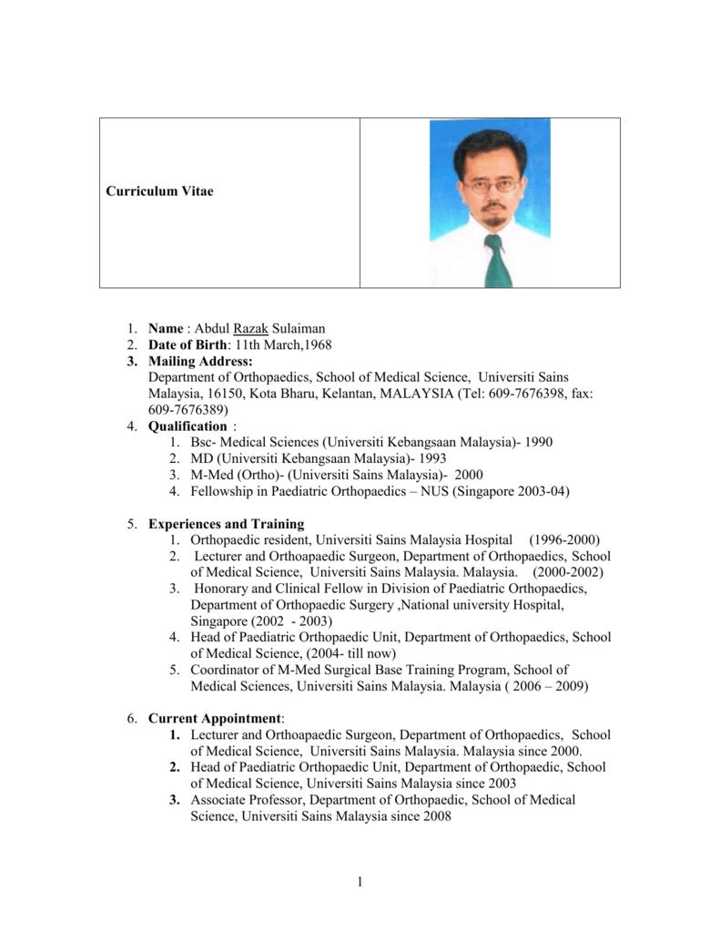 Curriculum Vitae Malaysian Orthopaedic Association
