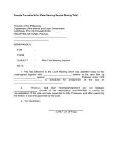 Sample Format of After Case Hearing Report (During