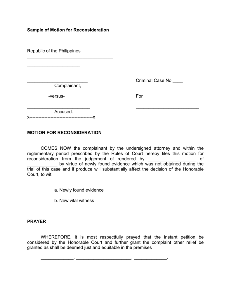 sample of motion for reconsideration