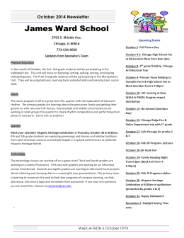 October 2014 Newsletter James Ward School 2701 S. Shields Ave