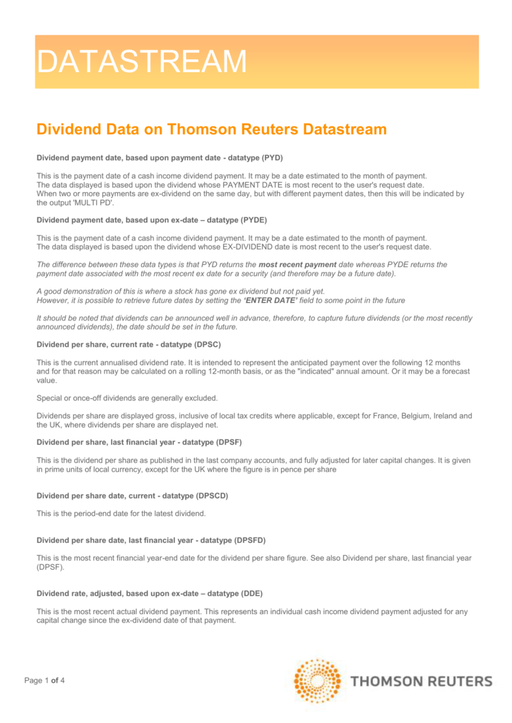 Dividend Data - Explanation of Dividend Datatypes