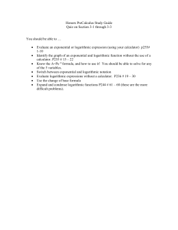 Honors PreCalculus Study Guide