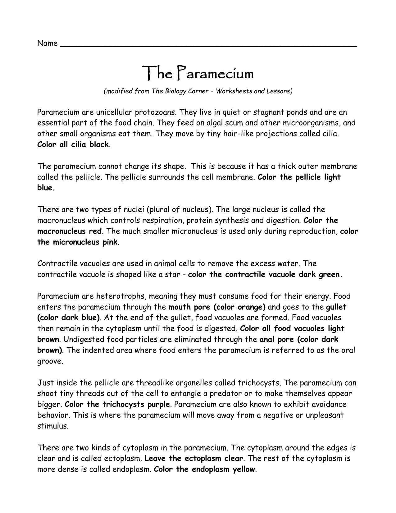 worksheet Biology Corner Worksheets paramecium worksheet