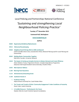 VERSION 0.7 – 07/2015 Local Policing and Partnerships National
