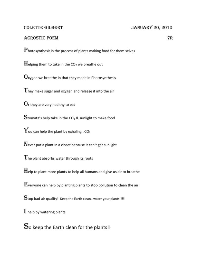 plant cell acrostic poem