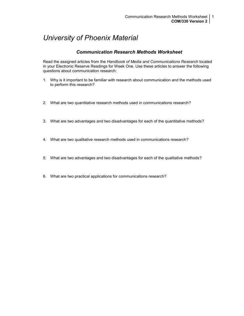 Communication Research Methods Worksheet COM330 Version 2 – Qualitative Vs Quantitative Worksheet