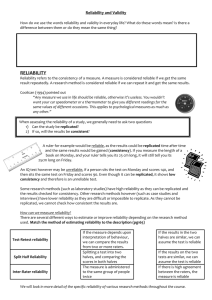Reliability and validity worksheet