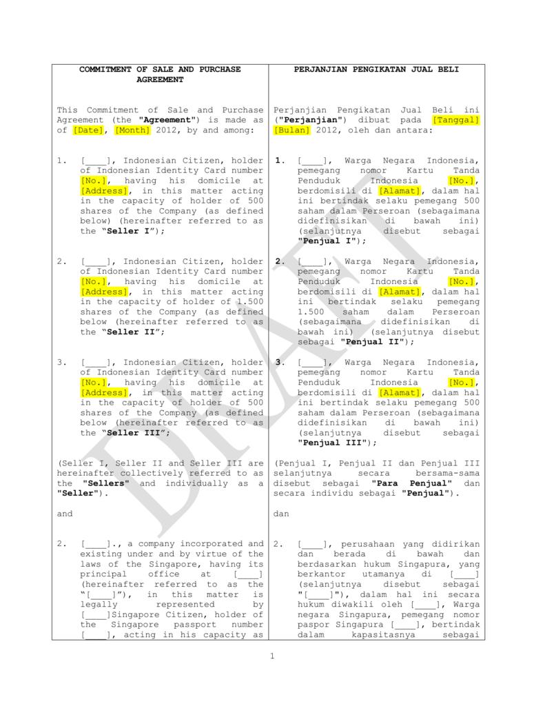 Ppjb Perjanjian Pengikatan Jual Beli Dual Bahasa Untuk