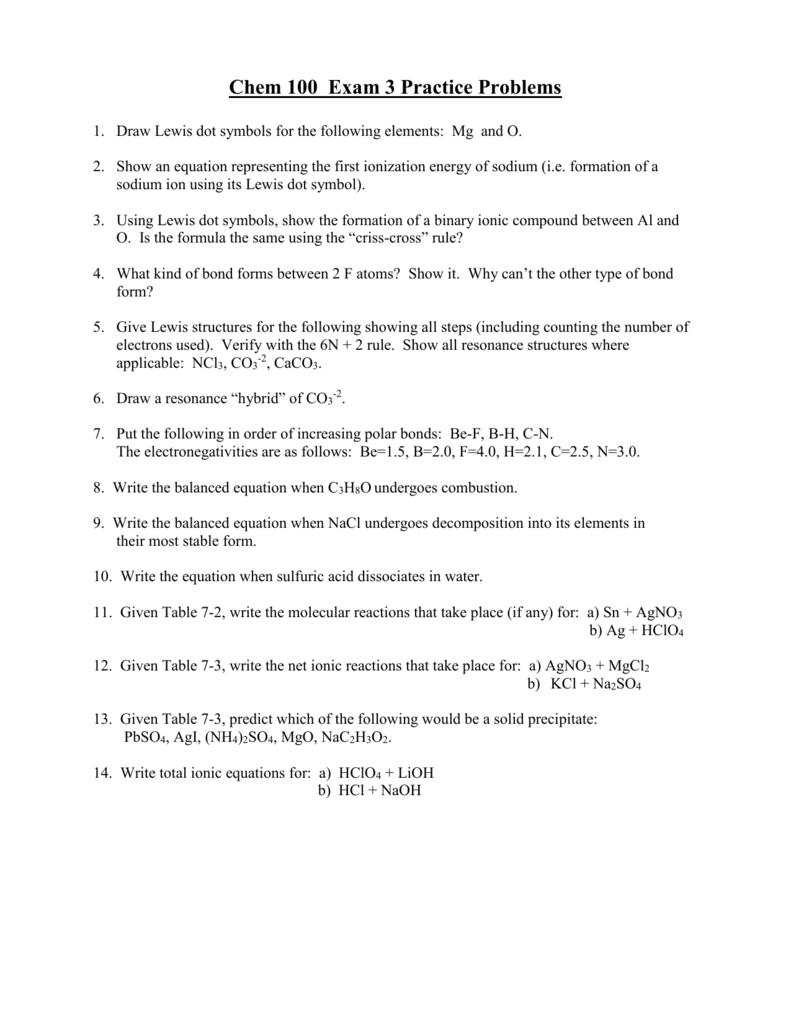 Chem 100 Exam 3 Practice Problems
