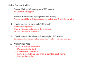 Modest Proposal Outline