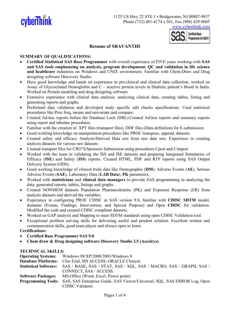Resume of SRAVANTHI